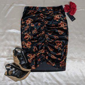 Free Press Velvet Black and Bronze Floral Skirt